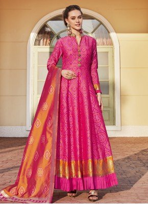 Masterly Weaving Hot Pink Readymade Anarkali Suit