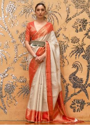 Masterly Weaving Off White Silk Traditional Designer Saree
