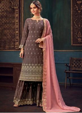 Mauve  Embroidered Faux Georgette Designer Pakistani Suit