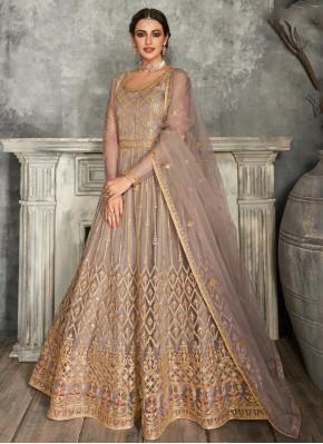Mauve  Lace Sangeet Floor Length Anarkali Suit