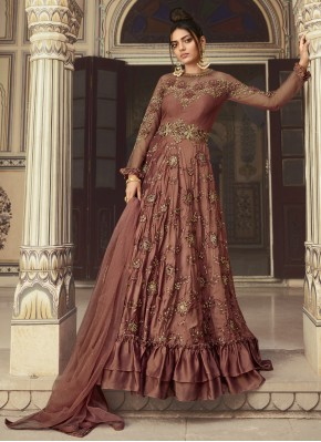 Mauve  Net Mehndi Designer Gown