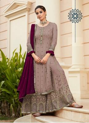 Mauve  Sangeet Faux Georgette Designer Palazzo Salwar Suit