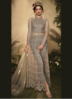 Mesmeric Embroidered Grey Pant Style Suit