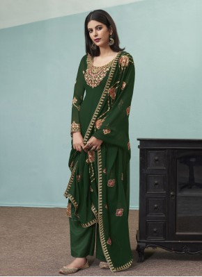 Mesmeric Faux Georgette Embroidered Green Designer Pakistani Suit