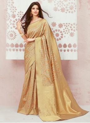 Mesmeric Weaving Beige Trendy Saree