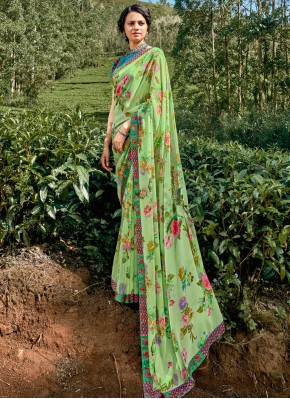 Mesmerizing Faux Georgette Multi Colour Floral Print Printed Saree