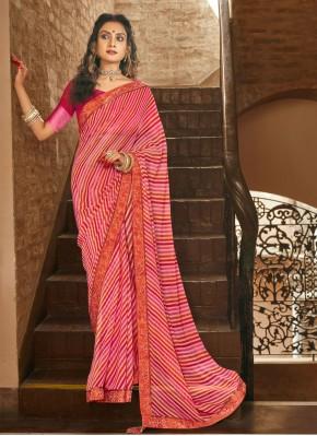 Mesmerizing Pink Casual Printed Saree