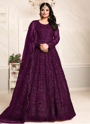 Mesmerizing Thread Work Net Purple Floor Length Anarkali Suit