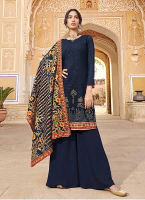 Miraculous Faux Georgette Blue Designer Pakistani Suit