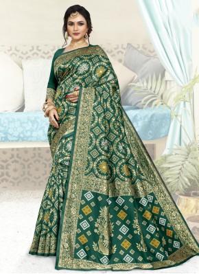 Miraculous Green Art Silk Traditional Designer Saree