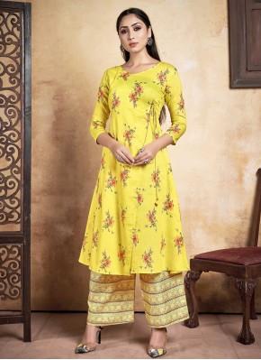 Miraculous Printed Rayon Yellow Designer Kurti