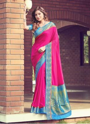 Miraculous Silk Hot Pink Woven Traditional Designer Saree