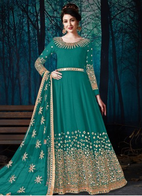 Miraculous Teal Embroidered Faux Georgette Floor Length Designer Suit