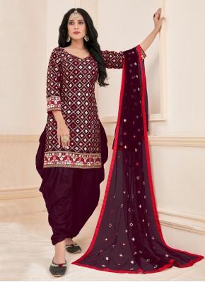 Mirror Cotton Designer Patiala Suit in Magenta