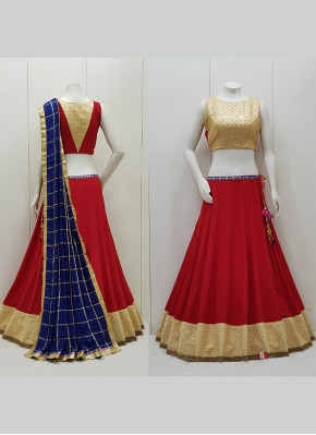 Mirror Work Chiffon Readymade Lehenga Choli