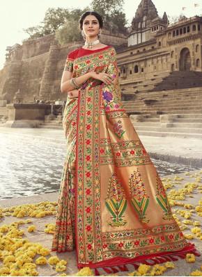 Mod Banarasi Silk Weaving Red Traditional Designer Saree