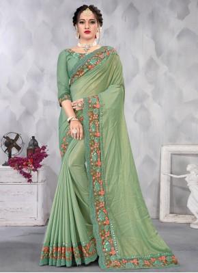 Mod Faux Chiffon Sequins Green Designer Saree