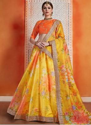 Mod Orange and Yellow Zari Trendy Lehenga Choli