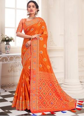 Mod Orange Weaving Silk Designer Traditional Saree