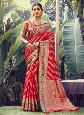 Mod Silk Weaving Red Traditional Saree