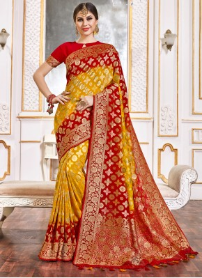 Mod Weaving Red and Yellow Classic Designer Saree