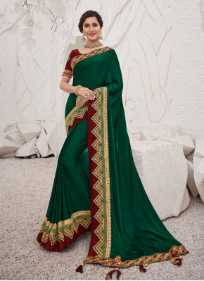 Modern Aari Work Silk Designer Saree