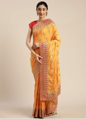 Modern Patch Border Poly Silk Yellow Traditional Designer Saree
