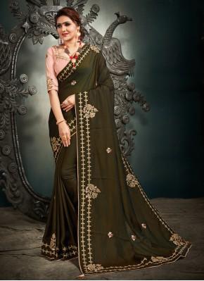 Modern Satin Silk Sangeet Designer Saree