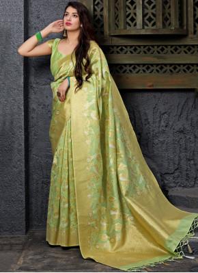 Modern Sea Green Weaving Silk Traditional Saree