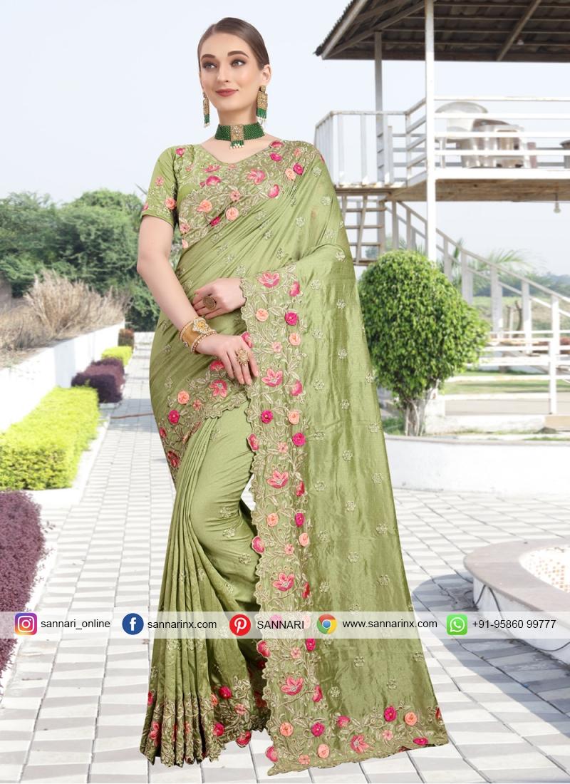 Modern Silk Embroidered Green Classic Designer Saree