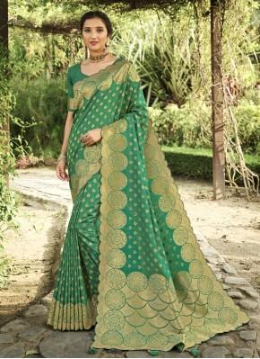 Modern Silk Swarovski Green Traditional Designer Saree
