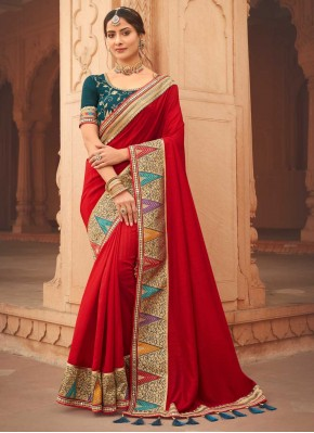 Modernistic Embroidered Red Designer Traditional Saree