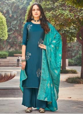 Modernistic Silk Teal Embroidered Trendy Salwar Suit