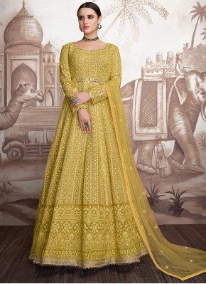 Modernistic Yellow Georgette Anarkali Suit