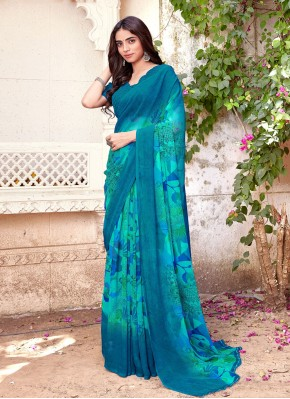 Modest Blue Printed Faux Chiffon Printed Saree