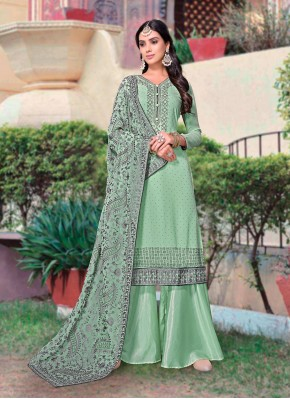 Modest Embroidered Designer Palazzo Suit