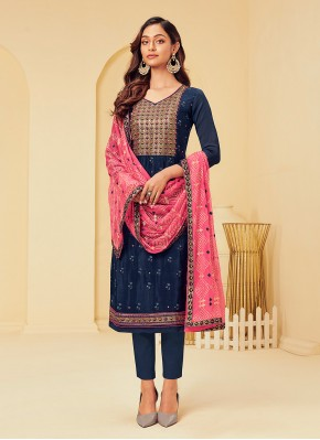 Modest Embroidered Navy Blue Pant Style Suit