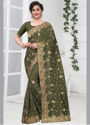 Modest Green Classic Designer Saree