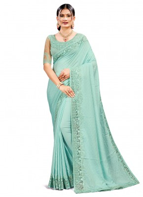 Modest Resham Firozi Designer Traditional Saree