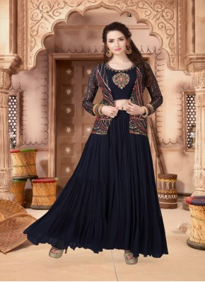 Modish Embroidered Chiffon Indo Western Style Suit for Ceremonial