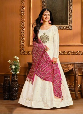 Modish Embroidered Off White Floor Length Anarkali Suit