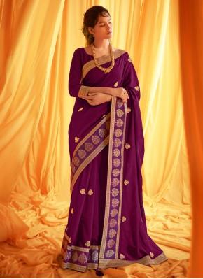 Modish Embroidered Purple Traditional Designer Saree