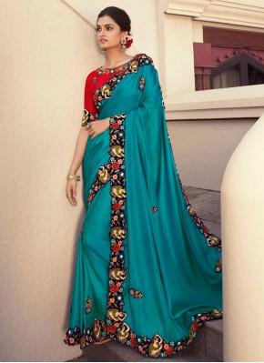 Modish Fancy Fabric Blue Embroidered Designer Saree