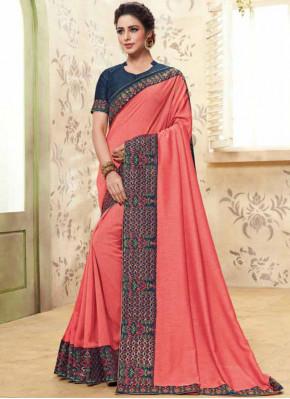 Modish Pink Ceremonial Classic Designer Saree