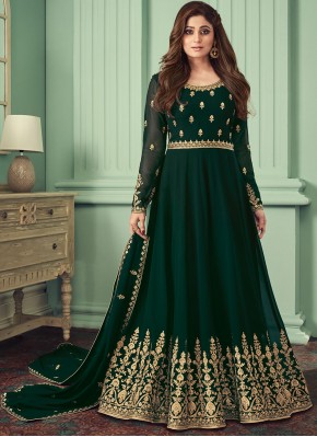 Monumental Black Resham Georgette Trendy Salwar Kameez