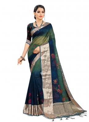 Monumental Blue and Green Printed Saree