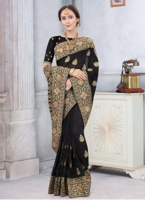 Monumental Embroidered Silk Black Traditional Designer Saree