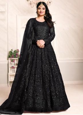 Monumental Net Sequins Black Floor Length Anarkali Suit