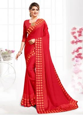 Monumental Satin Red Bollywood Saree