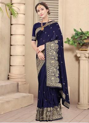 Monumental Stone Navy Blue Silk Designer Traditional Saree